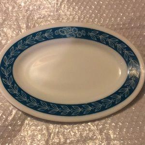 Vintage oval Pyrex turquoise blue trim platter